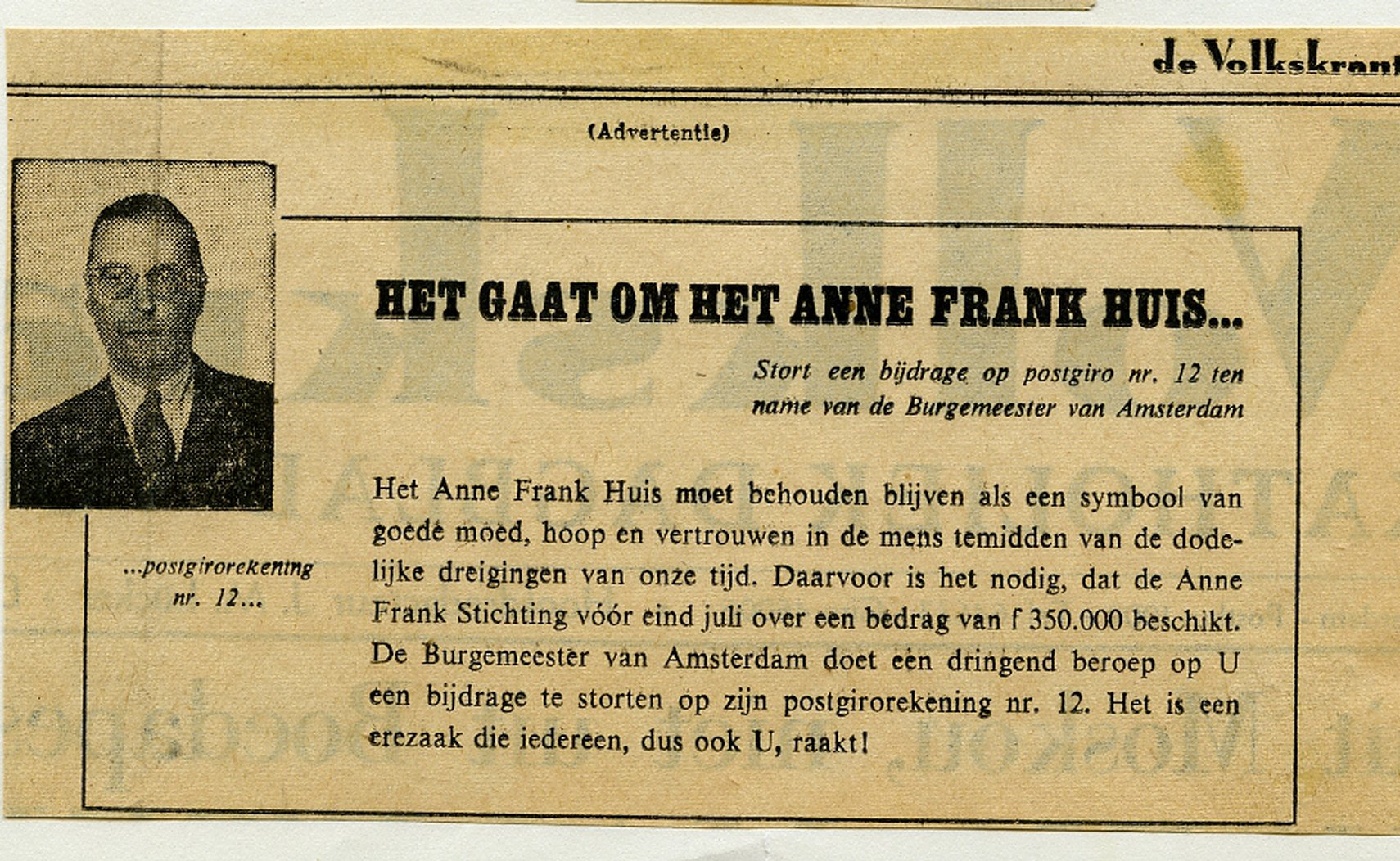 The appeal from Mayor Van Hall to donate money for the preservation of the Anne Frank Stichting
